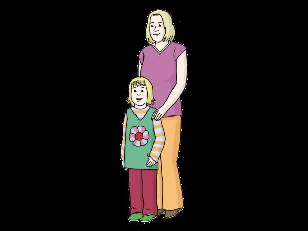 Eine Frau mit Kind erhält Schutz.